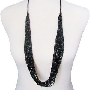 Lia Sophia Black Multi Bead Ravish Necklace RV$68